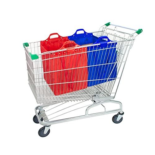 mimiliy Bolsa de Compras Reutilizable, Gran supermercado Shopping Trolley Bolsas, Plegable, Duradero y ecológico Rojo/Azul (Color : Red/Blue+Shoulder Belt)