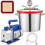 VEVOR Vacuum Chamber with Pump, 4CFM 1/3HP Vacuum Pump with High-Capacity 2 Gallon Vacuum Chamber, Vacuum Pump Chamber Kit Vacuum Degassing Chamber Kit