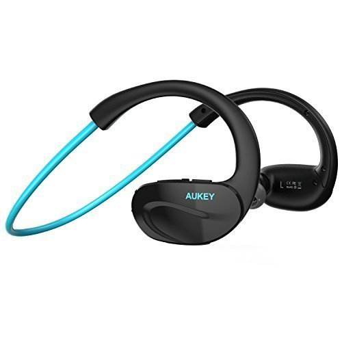 AUKEY Sport Bluetooth Kopfhörer Headset Ohrhörer für iPhone Samsung HTC iPad und andere Smartphones, Tablets (Blau-Schwarz)
