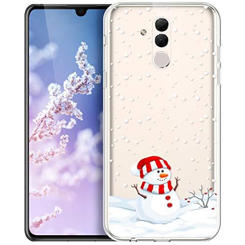 Kompatibel mit Huawei Mate 20 Lite Hülle,Durchsichtig Xmas Christmas Snowflake Weißen Weihnachten Schneeflocke Hirsch Klar TPU Silikon Handy tasche Case Handyhülle Schutzhülle,Schneemann Schneeflocke
