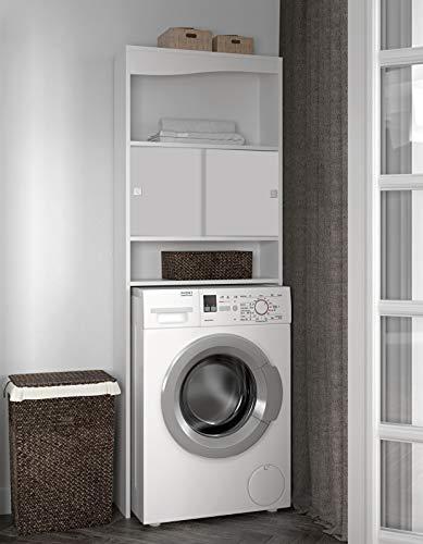 Symbiosis Mueble para lavadora, color blanco 64,3 X 177 X 19,2 cm