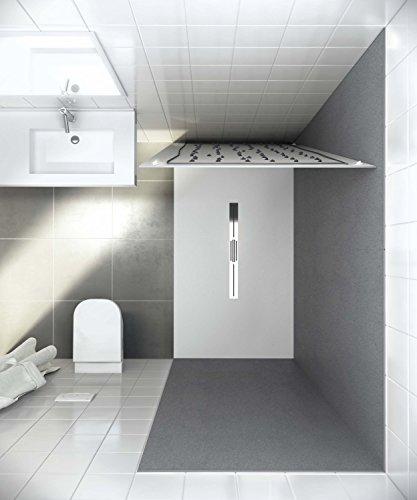 bodengleiche Duschwanne mit Duschrinne 120x100 aus Mineralguss - begehbare Dusche 100x120 - werkseitig einkürzbar