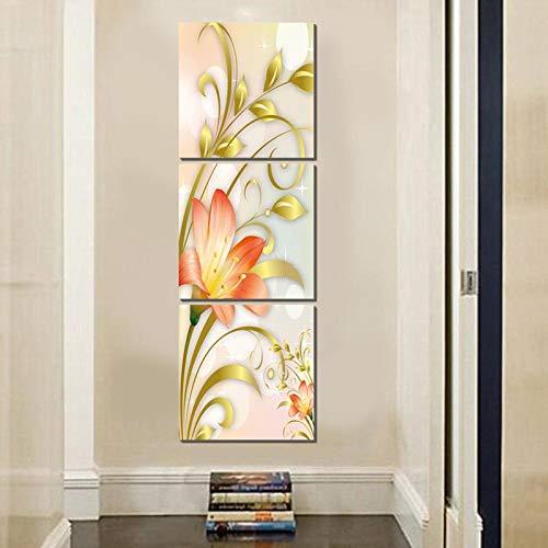 RomantiassLu Flor Amarilla Vertical Cuadrado Lienzo Pintura Country Art Prints 3 Piezas Art Deco Cuadros de Pared para...