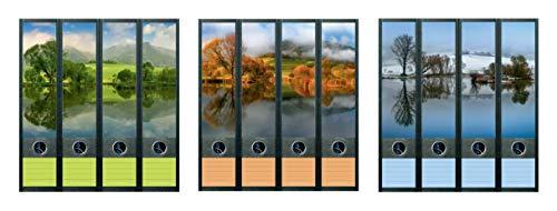 12er Set Ordnerrücken für breite Ordner Teich See Natur Sommer Herbst Winter Aufkleber Etiketten Deko 851 852 853