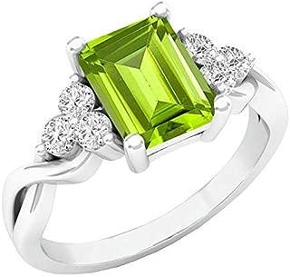 14K 8X6 MM Emerald Cut Gemstone & Round White Sapphire Ladies Halo Engagement Ring, White Gold