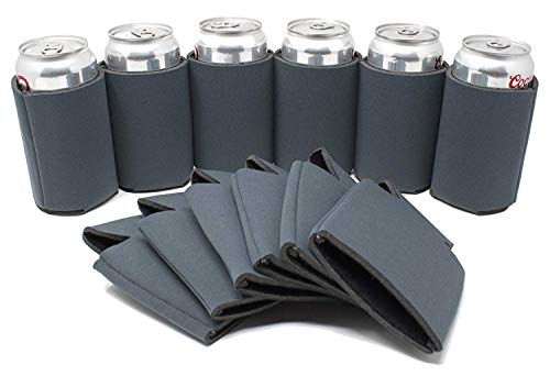 TahoeBay 12 Blank Beer Can Coolers, Plain Bulk Collapsible Soda Cover Coolies, DIY Personalized Sublimation Sleeves for Weddings, Bachelorette Parties, Funny HTV Party Favors (Charcoal, 12)