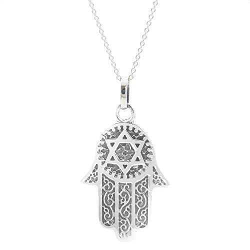 Silverly Frauen .925 Sterling Silber Hamsa Fatima Hand Stern Schutz hängende Kettenhalskette, 46cm
