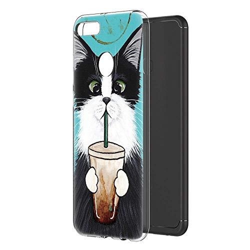 Pnakqil Huawei Y9 2018 Hoes, Transparant Helder met Stijlvol Patroon for Huawei Y9 2018 Cat drank