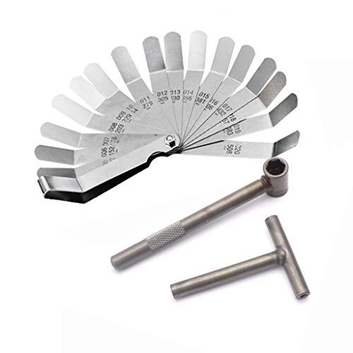 DFYYQ Motorradmotor Ventilschraube Stellschraubschlüssels Werkzeugventilspiel Einstellwerkzeuge + Fühlerlehre 0,005-0,020 inch
