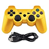 Tidoom PS3 Controller Wireless Bluetooth Game Controller Compatible for Playstation 3 with Charging Cable Gold