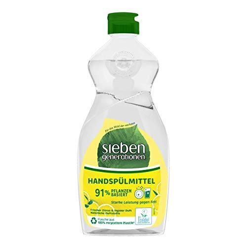 Sieben Generationen Geschirrspülmittel Frischer Zitrus & Ingwer Duft Geschirrreiniger mit 91% pflanzlichen Inhaltsstoffen und starker Leistung gegen Fett 500 ml 1 Stück