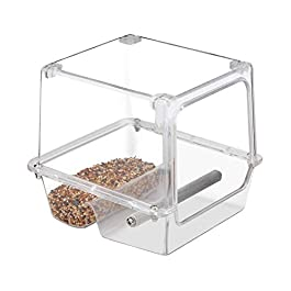 fllyingu Acrylic Bird Parrot Feeder for cage with Rough-surfaced Stainless Steel Perch, Bird Feeder Seed Catcher Tray Hanging Cup Food Dish for Small Birds Lovebirds Cockatiels Canaries