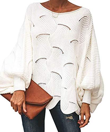 ZIYYOOHY Damen Pullover Oversize V Ausschnitt Lose Pulli Strickpullover Outwear (M, Weiß)