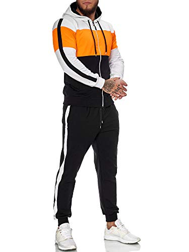 OneRedox | Herren Trainingsanzug | Jogginganzug | Sportanzug | Jogging Anzug | Hoodie-Sporthose | Jogging-Anzug | Trainings-Anzug | Jogging-Hose | Modell JG-1082 (M, Orange-Weiss-Schwarz)