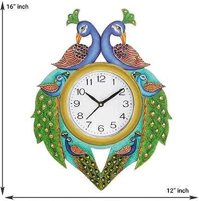 Aarvi creation Wooden Peacock Wall Clock Multicolour(40cm x33cm) 1