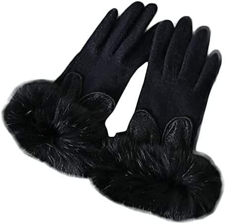 Winter Gloves For Women Fluffy Wool Gloves Warm Mitten Fleece Cute Rabbit Lining Cycling Running Ski Cold Weather