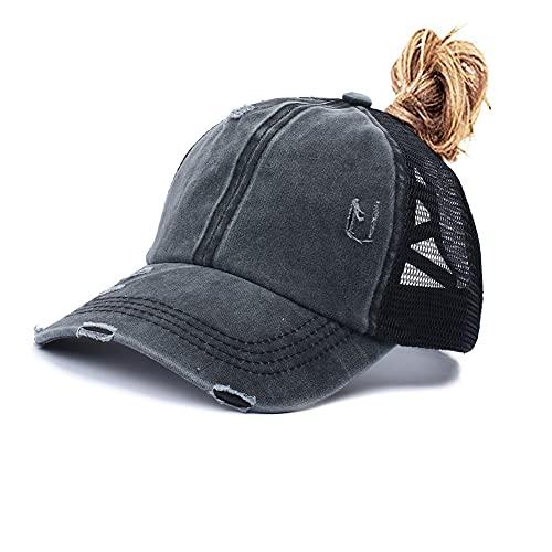 Criss Cross Ponytail Baseball Cap for Womens Men Adjustable Dad Trucker Mesh Hat Black