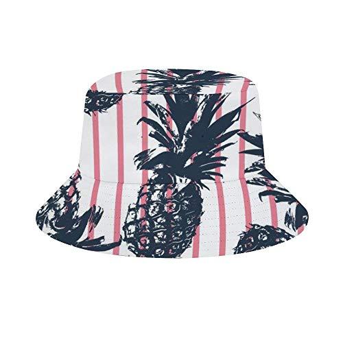 EINST Sonnenhut im Fischer-Stil, für Herren und Damen, faltbar, Strandhut, Sonnenschutz, Trippy Schachbrett Einheitsgröße Tropische Pflanzen Ananas lustig