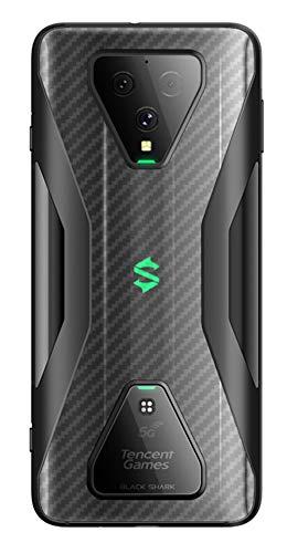 NOKOER Schutzfolie Rückseite Folie für Xiaomi Black Shark 3, [4 Stück] 0.1mm Superdünn Carbon Muster Rückseite Folie, Kratzfest Anti Fingerabdruck rutschfest