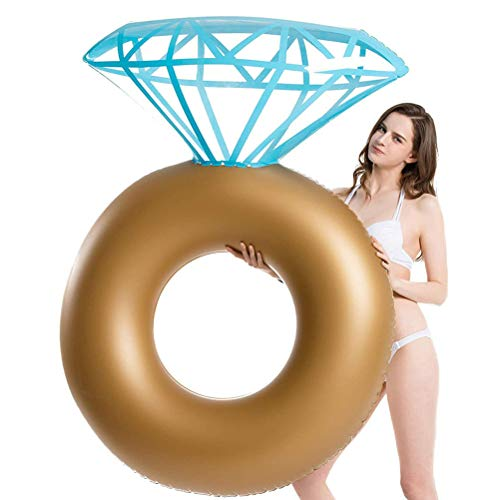 Creacom Aufblasbarer Diamantring, Aufblasbarer Diamantring Pool Float Kreativer Verlobungsring Party Float Dekorationen Outdoor Water Lounge für Erwachsene und Kinder