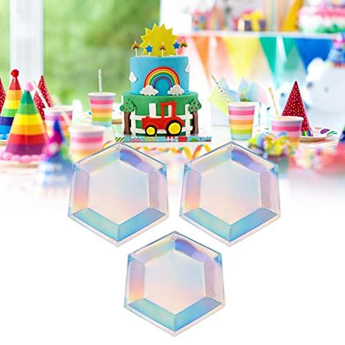 Platos de vasos de papel de 8 piezas para el hogar para fiestas(8 22cm six-sided plates, Monochromatic laser)