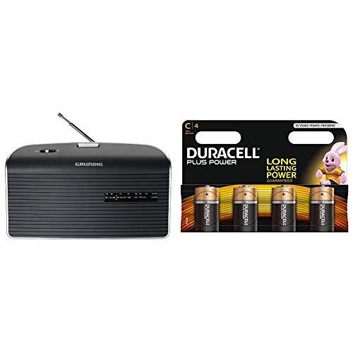 Grundig Music 60 Empfangsstarkes Radio im modernen Design grau + Duracell Plus Power Typ C Alkaline Batterien, 4er Pack