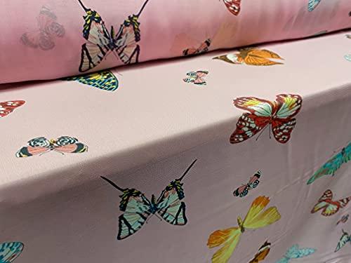 Tela de gasa estampada por metro, estampado de mariposa rosa