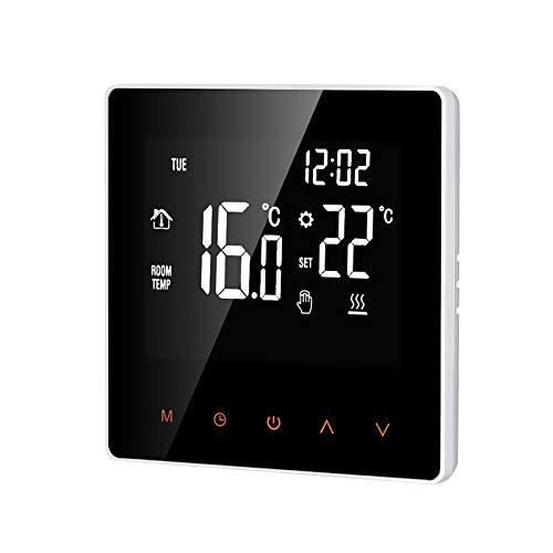 Katerk Termostato inteligente Caldera de agua/gas Temperatura digital Pantalla LCD grande Control de botón táctil Semana Función anticongelante Termostato de calefacción de agua