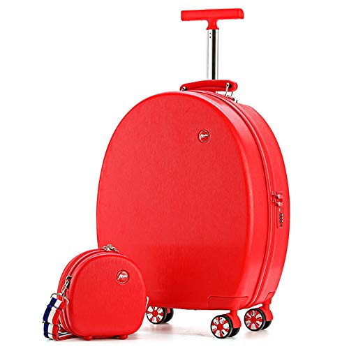 KKSB 20'' Rotatable Luggage Wheeled Kids Suitcase Child Trolley Bag Girl Suitcase Carry Luggage Cartoon Cute Box Cute red Set