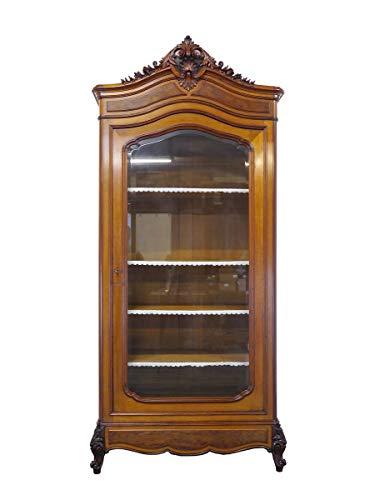 Antike Vitrine um 1870 Nussbaum furniert | Vitrinenschrank Bücherschrank | 1-türig B: 109 cm (9392)