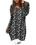 Style Dome Jerseys de Punto Mujer Largos Leopardo Cuello V Manga Larga Otoño Vestidos Sudadera Casual Tallas Grandes Suéter para Mujer Oversize Pullover D-Azul XL