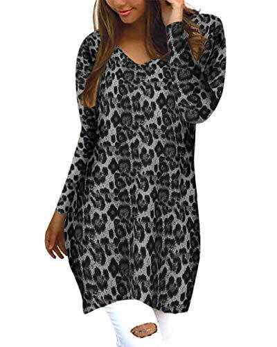 Style Dome Pullover Damen Casual V-Ausschnitt Langarmshirt Oversize Tunika Hoodie Bluse Leopard Floral Grau-D53069 L