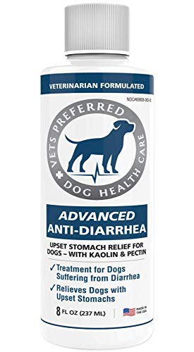 Vets Preferred Advanced Anti-Diarrhea Liquid | Veterinarian-Grade Anti Diarrhea Dogs Solution | Fast Relief for Dog Diarrhea, Upset Stomach, Cramping, Discomfort, Dog Gas | Kaolin & Pectin (8 oz.)
