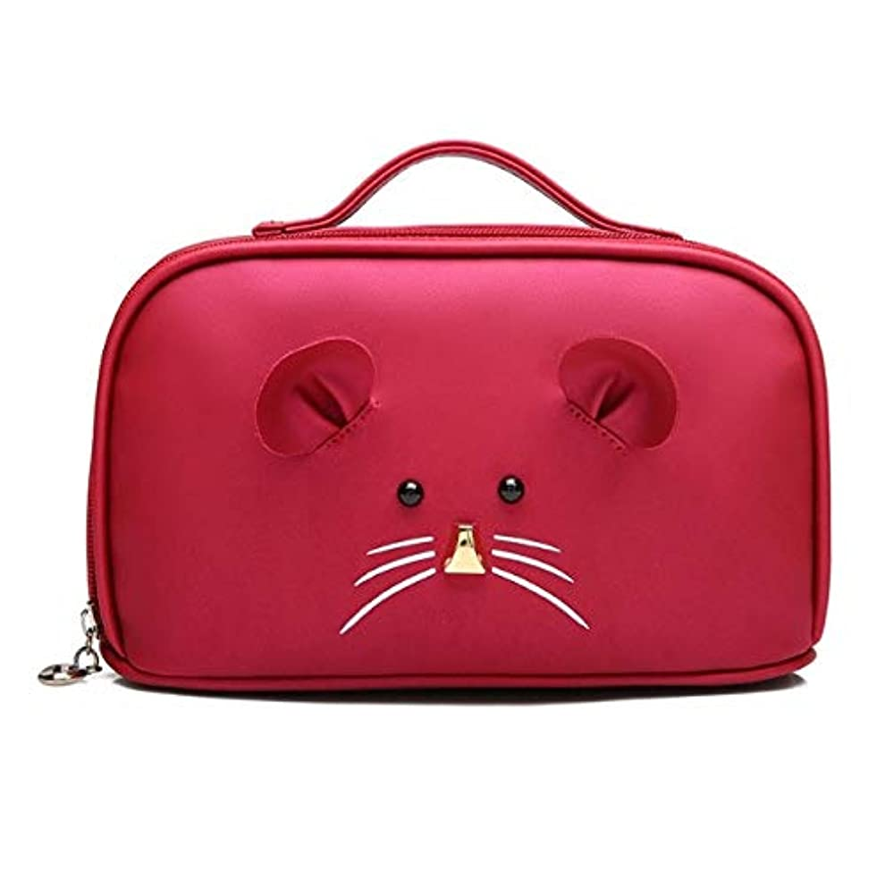化粧箱、大容量漫画マウス化粧品ケース、ポータブル旅行化粧品ケース、美容ネイルジュエリー収納ボックス (Color : Red)