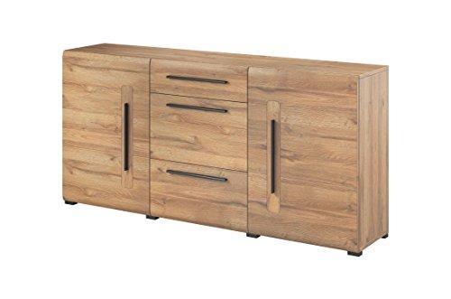 Furniture24 Kommode Tulsa 26 Wohnzimmerschrank, Merzwerschrank, Sideboard mit 2 Türen und 3 Schubladen (Grandson Eiche)