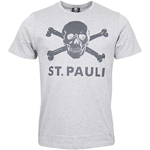 FC St. Pauli Skull Hombre Camiseta Gris/Melé M, 100% algodón, Regular