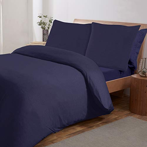 Sleepdown Jersey Melange-Juego edredón de 155 x 220 cm + 2 Fundas de Almohada de 80 x 80 cm, algodón poliéster, Azul Marino, 155 x 220cm + 2 x 80 x 80cm