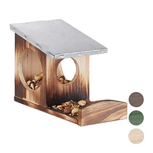 Relaxdays Eichhörnchen Futterhaus, Kobel aus Holz, wetterfestes Metall Dach, zum Aufhängen, Futterstation, geflammt