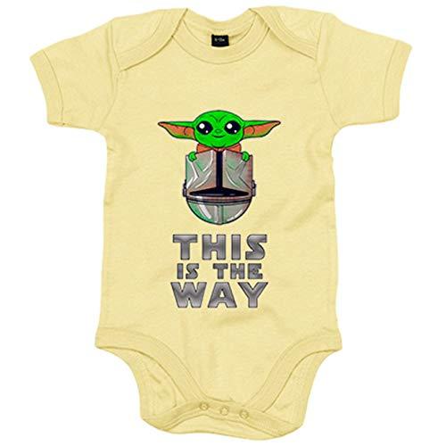 Body bebé parodia baby yoda frase This is the way - Amarillo, 12-18 meses