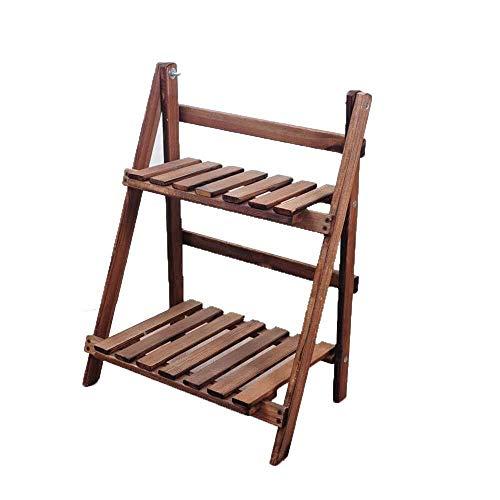 YLongFEI Bloem Stand 2 Tier Houten Ladder Boekenkast Staande rekken Eenheid Leaning Wandplanken Opslag Planken Display Rack Keuken Kruid Tuin Ideaal voor Huis, Tuin, Patio