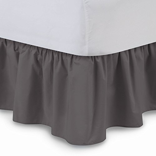 ShopBedding Ruffled Bedskirt (Twin XL, Dove Grey) 14 Inch Drop Dust Ruffle with Platform, Poly/Cotton Fabric, Available in All Bed Sizes and 16 Colors - Blissford