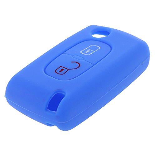Funda de Clave Remoto de Silicona Cubierta Protectora de Coche Pieza de Repuesto para Peugeot 207 307 407 - Azul