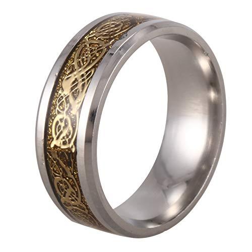 Bayda Anillo celtico de Bordes biselados de Figuras de Dragon Escala de Dragon Anillo de Boda de joyeria para Hombre Oro, Tamano: 11