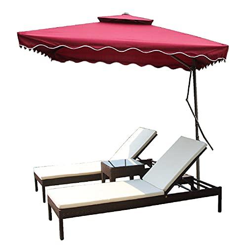 patio chaise lounge Set de sofá Cama al Aire Libre, reclinable de Respaldo Ajustable, reclinable de ratán de Lujo con Alto cojín elástico, Conjunto de Muebles de jardín