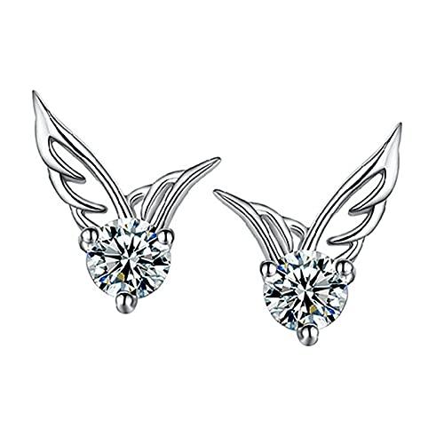 ANLV Pendientes, pendientes exquisito patrón de ala de ángulo chapado en plata con diamantes de imitación de mujer pendientes para mujer, diamantes de imitación, aleación, plateado