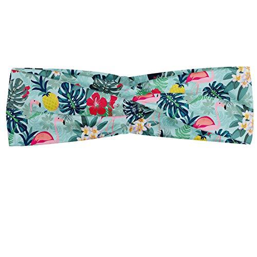 ABAKUHAUS Tropisch Halstuch Bandana Kopftuch, Muster mit Flamingo Ananas Toucan und Monstera Blätter Insel Pflanzen und Vögel, Elastisch und Angenehme alltags accessories, Mehrfarbig