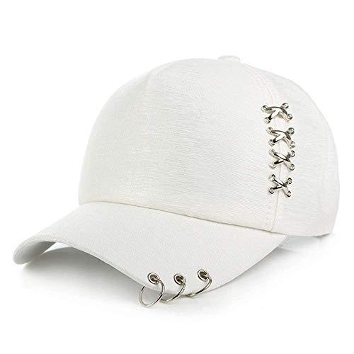 Piercing Ring Baseball Cap Punk Hip Hop Caps Baumwolle Adult Casual Einstellbare Unisex Kappen, Weiß, L