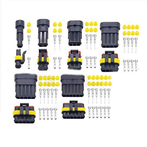 Merssavo Wasserdichter Kfz-Steckverbinder, 2-polig, 3-polig, 4-polig, Stecker und Buchse, Elektrokabelanschluss, Stecker, 5er-Set-Kit