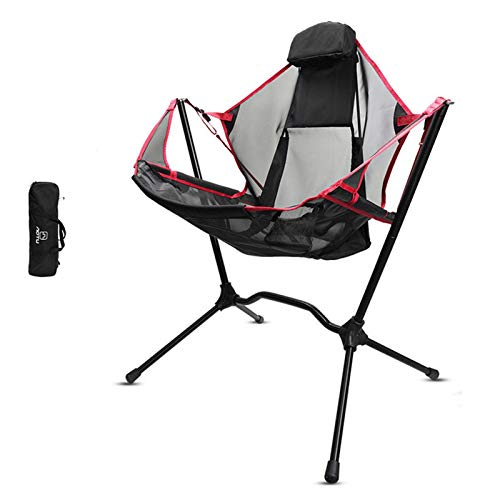 hdee Folding Chair - Sunshade Hiking Travel Chair with Cup, Outdoor Collapsible Rocking Chair Bear, Maximum Load: 150kg,Expanded Size: About 79x65x116cm