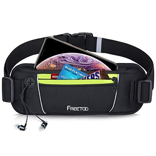 FREETOO Sport Hüfttasche Sport Bauchtasche für Damen und Herren, Lauftasche Laufgürtel Leichtgewicht mit Kopfhöreranlass und Nacht Reflexband, Passt Alle Handys bis zu 6,5 Zoll